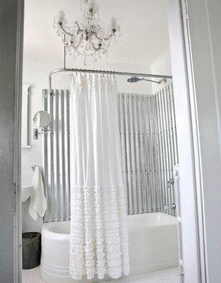 Shabby Chic White Bathroom Design With Crystal Chandelier And Ruffled Shower Curtain