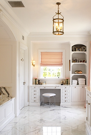 Built In Vanities white and pink bathroom - transitional - bathroom - windsor smith home