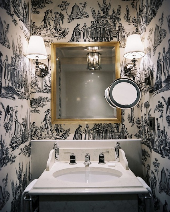 Black and white toile wallpaper transitional bathroom for Dark bathroom wallpaper