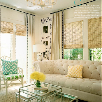 White Chesterfield Sofa, Contemporary, living room, Lonny Magazine