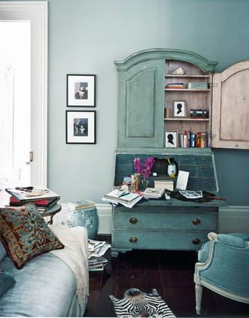 Turquoise Secretary Desk Transitional Living Room
