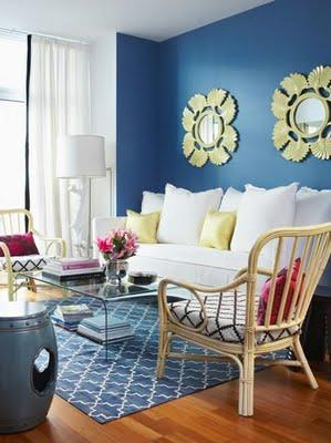 Blue trellis rug contemporary living room house home for Yellow and blue living room ideas