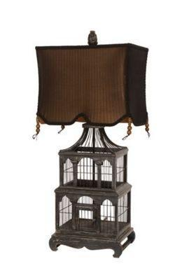 Guild Master Aged Black Bird Cage Table Lamp