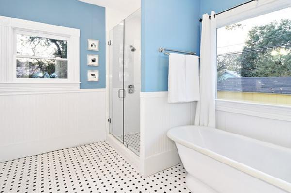 Bathroom benjamin moore whipple blue for Blue and white bathroom ideas