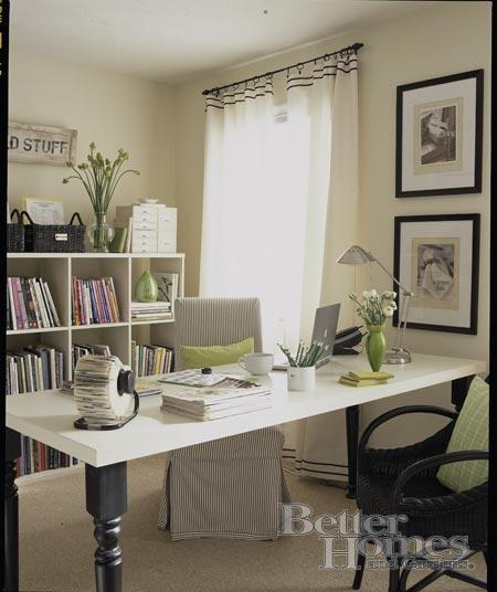 Desk With Turned Legs Transitional Den Library Office BHG