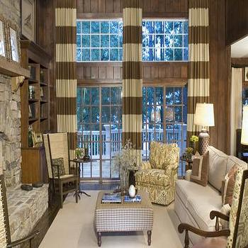 Horizontal Striped Curtains, Transitional, media room, Pineapple House