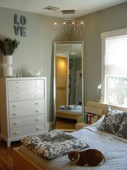 Silver Floor Mirror Transitional Bedroom