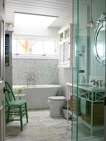 Medcine Cabinet with Louvered Doors, Cottage, bathroom, ICI Dulux N.B.C. White, Sarah Richardson Design