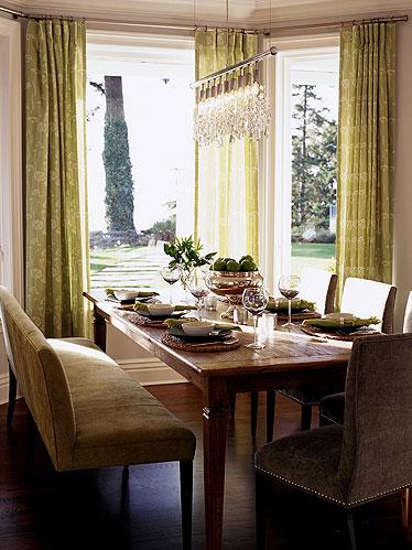 Brown Green Dining Room Design With Farmhouse Table Chocolate Velvet Upholstered Chairs Nailhead Trim Beige Bench