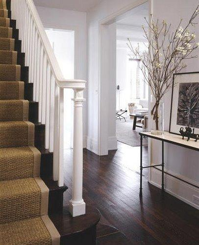 Foyer Staircase Runners : Sisal stair runner transitional entrance foyer