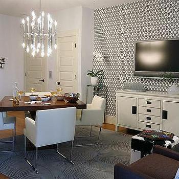 Hicks Hexagon Wallpaper, Contemporary, basement, Sarah Richardson Design