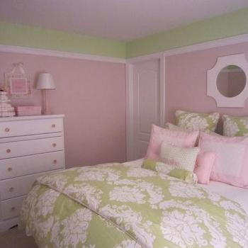 Pink and Green Girl's Room, Transitional, nursery