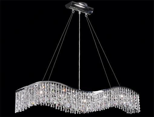 Crystal wave bar chandelier l4l for Lighting plus online