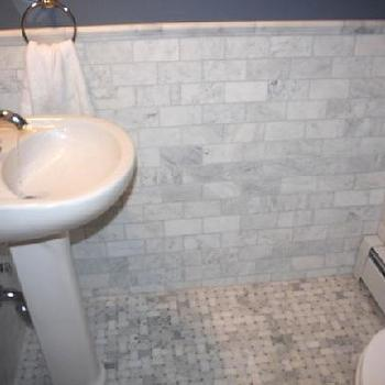 Marble Subway Tile Contemporary Bathroom