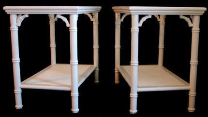 Set Of 2 Faux Bamboo White Gloss End Tables By Rediscovered126