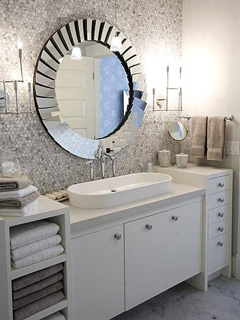 chic modern master bathroom design with white gray blue saltillo glass tiles backsplash round beveled web mirror white bathroom cabinets modern chrome - Glass Tile Backsplash In Bathroom
