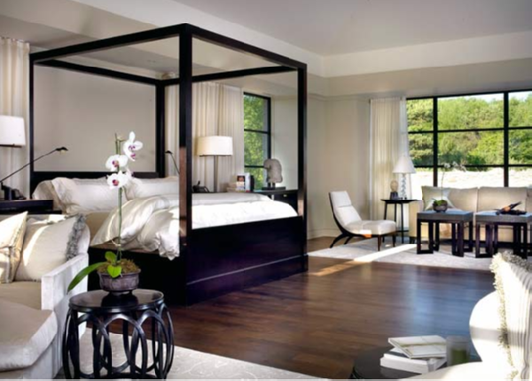Lacquered canopy bed transitional bedroom tom stringer - Wallpaper volwassen kamer zen ...
