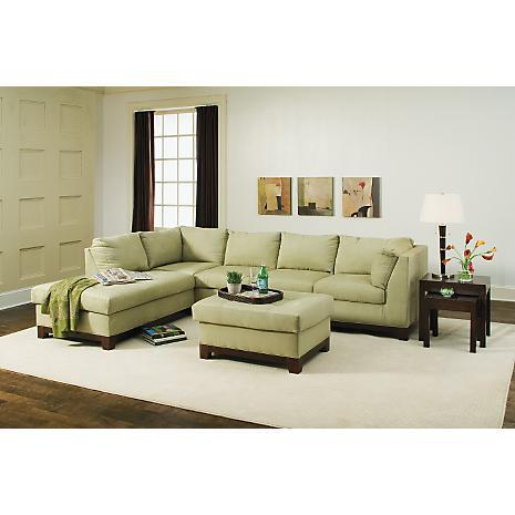 Sage color sofa the jensen tarragon reversible sectional for Sage green sectional sofa