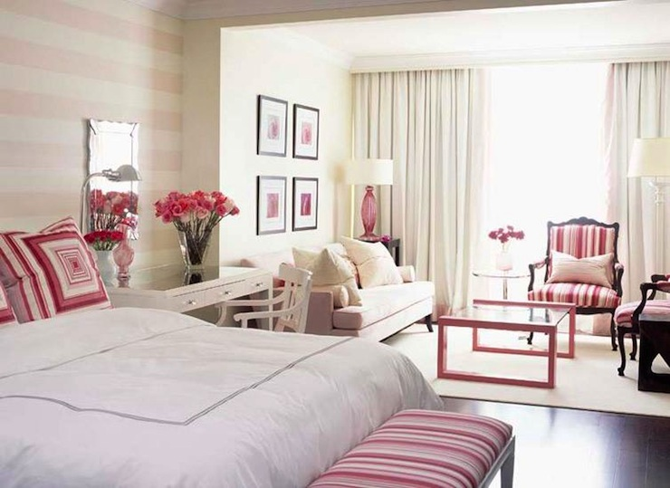 Sarah richardson bedrooms contemporary bedroom sarah - Pink and white striped wallpaper bedroom ...