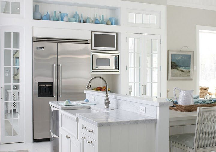 White, gray & blue kitchen colors! White kitchen cabinets, white