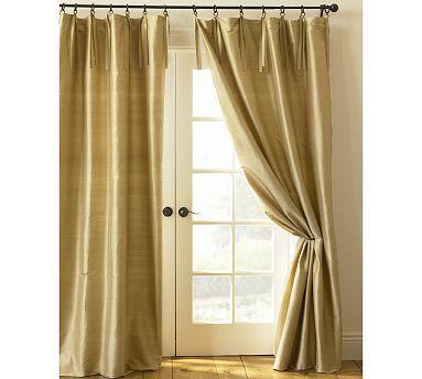 Window Treatments - Pottery Barn Silk Wheat Drapes