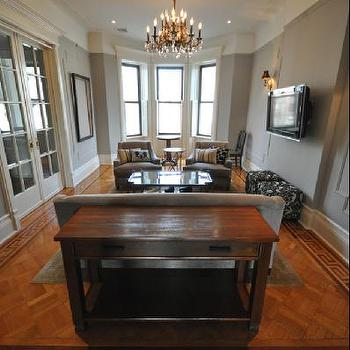 Greek Key Floor, Transitional, living room, Benjamin Moore Silver Fox, Brooklyn Limestone