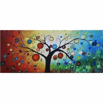 Fantastical Forest Handpainted Canvas Art, Abstract Modern Canvas Wall Art