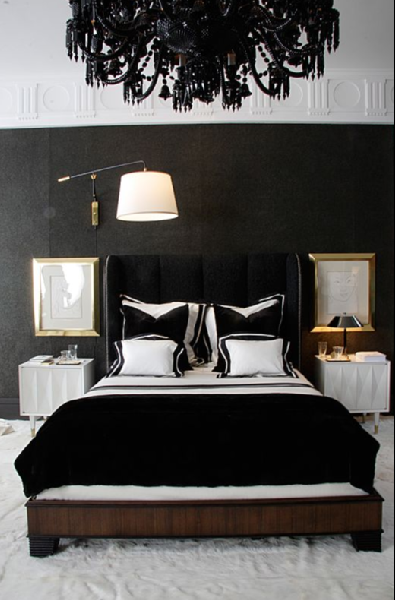 larry laslo sexy black bedroom design with black wallpaper black velvet headboard bed with nailhead trim black velvet bedding white black velvet