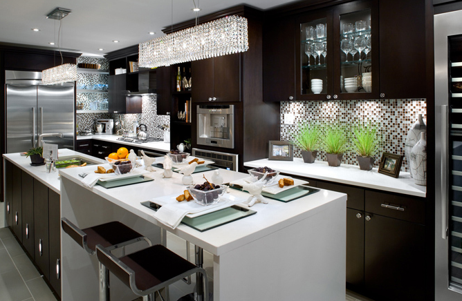 Candace Olson Kitchen! Modern Espresso Kitchen Design With Chocolate Brown  Kitchen Cabinets, Chrome Faux Bamboo Hardware, Crystal Box Pendant, Glossy  White ... Part 26