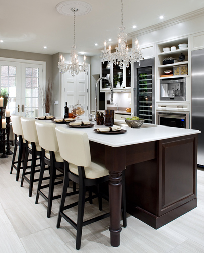 Beautiful, Elegant Kitchen Design With Cream Leather Barstools, Double  Crystal Chandeliers, Chocolate Brown Stained Kitchen Island, White Quartz  Counter ...