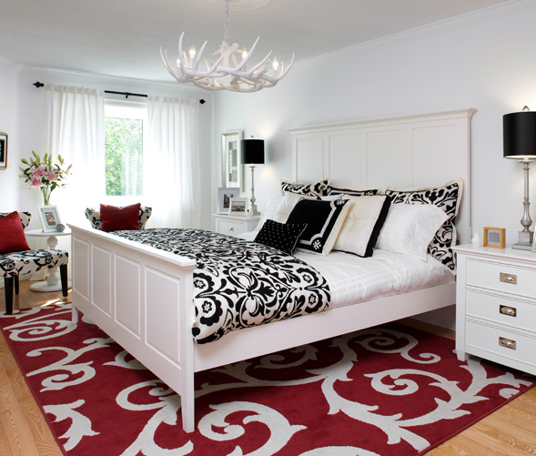 Damask duvet contemporary bedroom brandon barre - Black white and red bedroom decorating ideas ...
