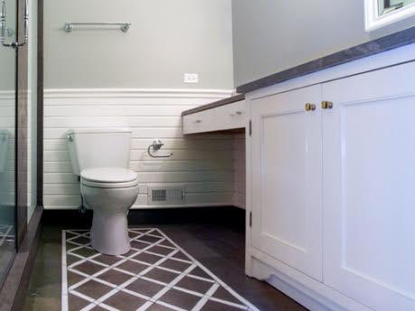 painted floor contemporary bathroom. Black Bedroom Furniture Sets. Home Design Ideas