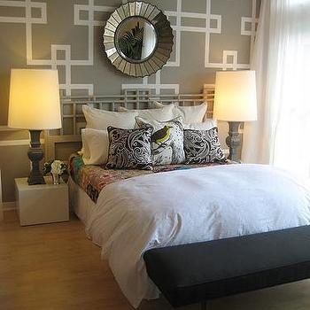 Stenciled Accent Wall, Contemporary, bedroom