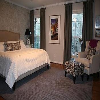 Gray Drapes, Transitional, bedroom, Benjamin Moore balboa mist