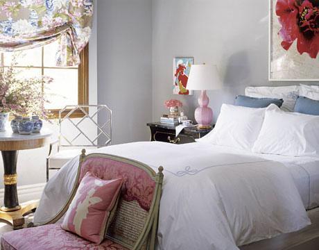 pink damask settee - contemporary - bedroom - benjamin moore