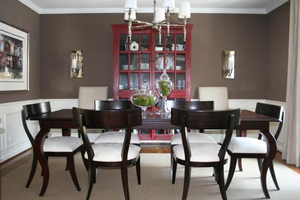 Dining Room Is Complete Added Pair Of RH Upholstered Arm Chairs And Neutral Linen Drapes Crate Barrel Red Rojo Cabinet