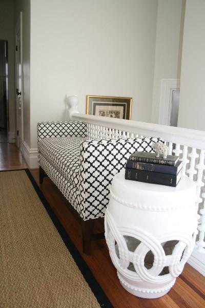 Beautiful Entryway Chaise, Sisal Rug And White Garden Stool.