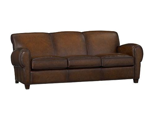 Pottery Barn Manhattan Leather Sofa L4l