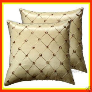 2 Thai Silk Decorative Pillow Case Cushion Throw Cream