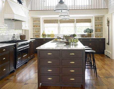 Dark brown kitchen cabinets cottage kitchen benjamin for Dark brown painted kitchen cabinets