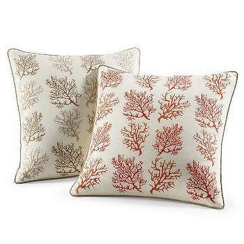 Williams-Sonoma Home, Embroidered Repeating Coral Branches Pillow