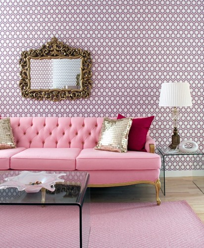 Pink Tufted Sofa - French - living room - Brandon Barre Photography