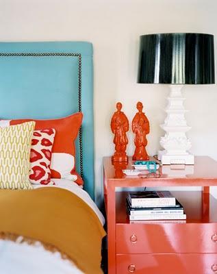 Turquoise Headboard, Contemporary, bedroom, Burnham Design