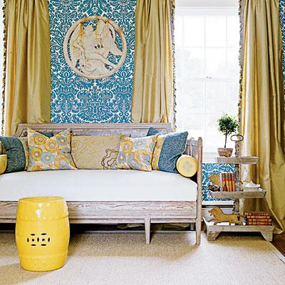 Fiona Newell Weeks, Dwelling U0026 Design   Yellow Silk Drapes, Turquoise Blue  Damask Wallpaper, Sofa, Yellow Garden Stool, Sisal Rug And Step Table. Part 46