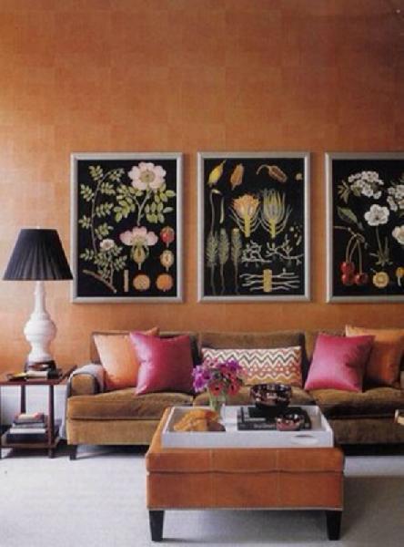Orange Ottoman Eclectic Living Room