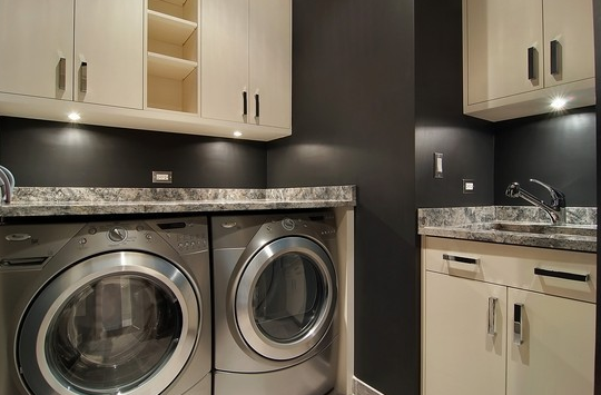 Cream Laundry Room Cabinets Design Ideas