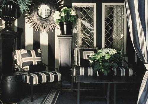 Black And White Striped Wall Contemporary Porch Mary