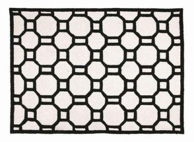 Chain Reaction Black White Graphic Rug Hand Hook Rug Geometric Design Throw  Rug Flooring