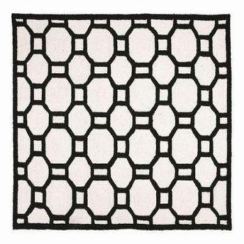 Chain Reaction Black White Graphic Rug Hand Hook Rug Geometric Design Throw Rug Flooring