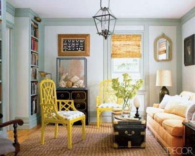 Lattice chairs eclectic living room benjamin moore for Painting trim darker than walls